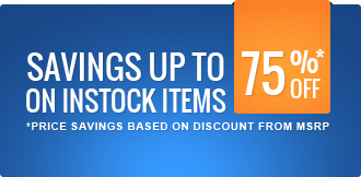 savings up to 75% off on in stock items